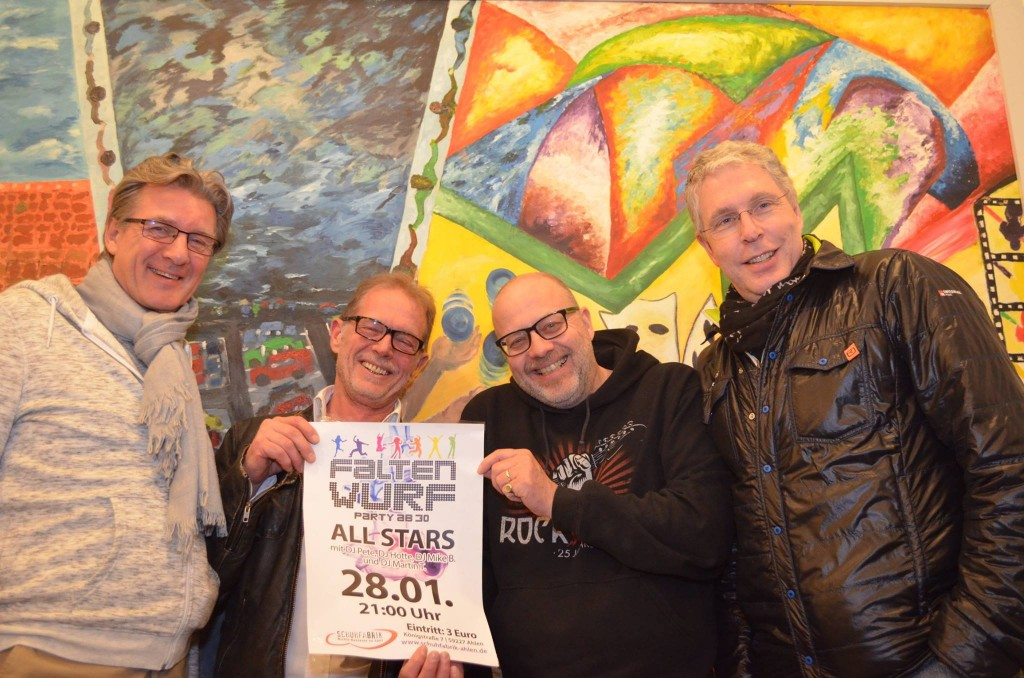 Faltenwurf mit All Star DJ´s Martin  T., Mike B, Pete & Hotte