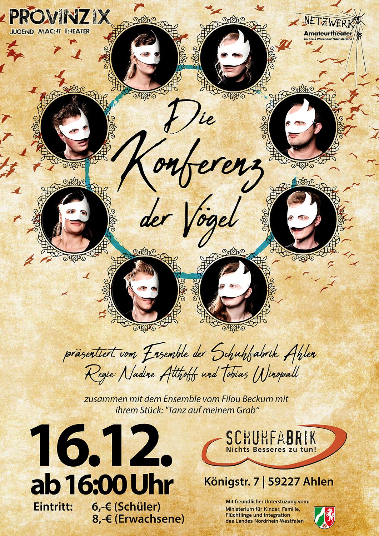 """Provinz Jugendtheater: """"Die Konferenz der Vögel"""" u. """"Tanz auf meinem Grab"""""""