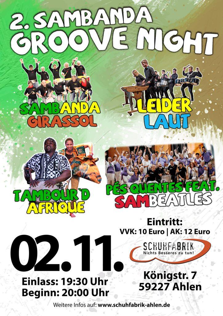 2. Sambanda Groove Night präsentiert: Pés Quentes feat. The Sambeatles, Sambanda Girassol, Tambour D` Afrique u. Leider Laut