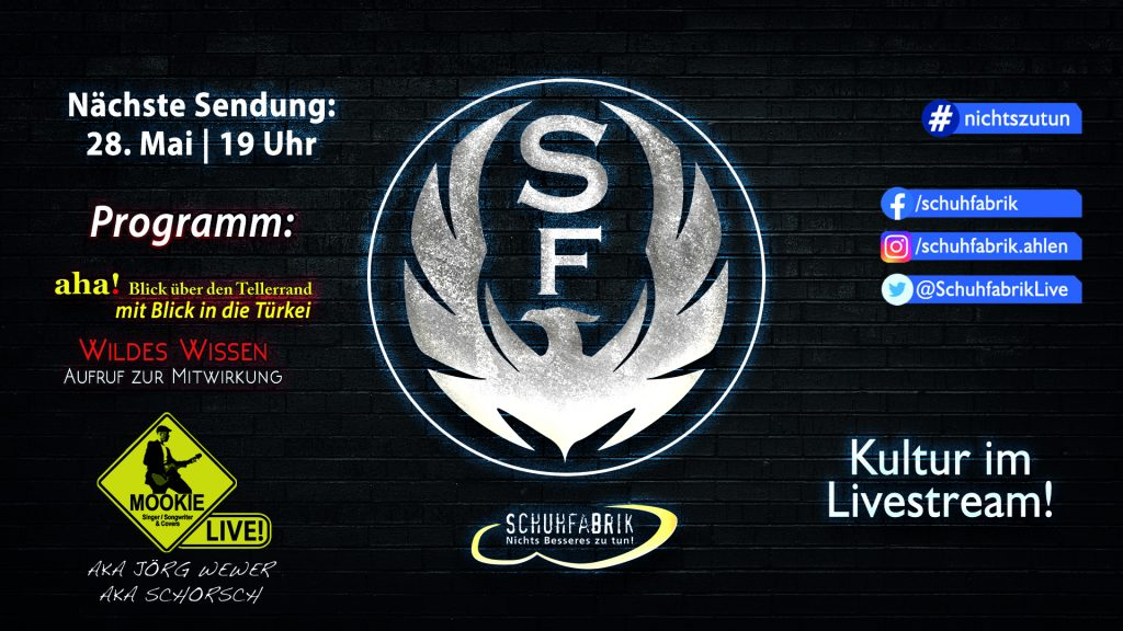 Schuhfabrik Live! – Kultur im Livestream!